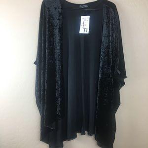 Black velvet kimono 1X